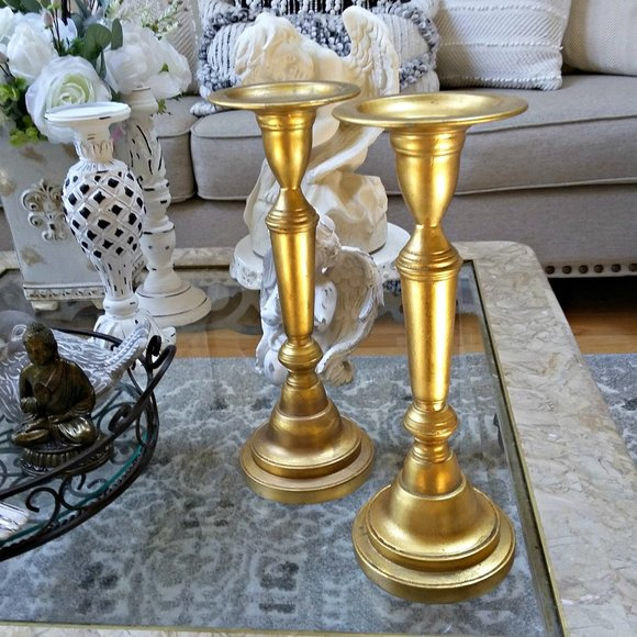 POTTERY BARN Solid GOLD Metal TALL CANDLESTICKS
